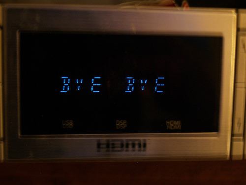 Displaying words bye bye on microwave window
