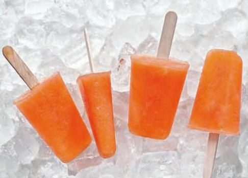 four popsicles on ice